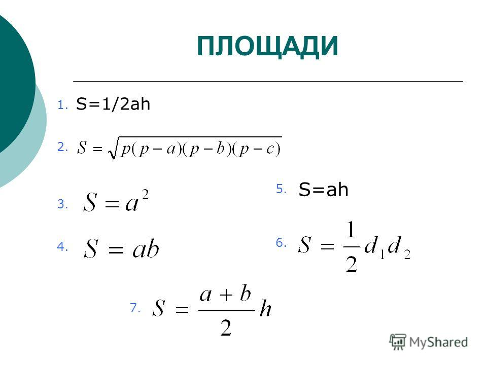 ПЛОЩАДИ S=1/2ah S=ah 1.1. 2. 3. 4. 5. 6. 7.