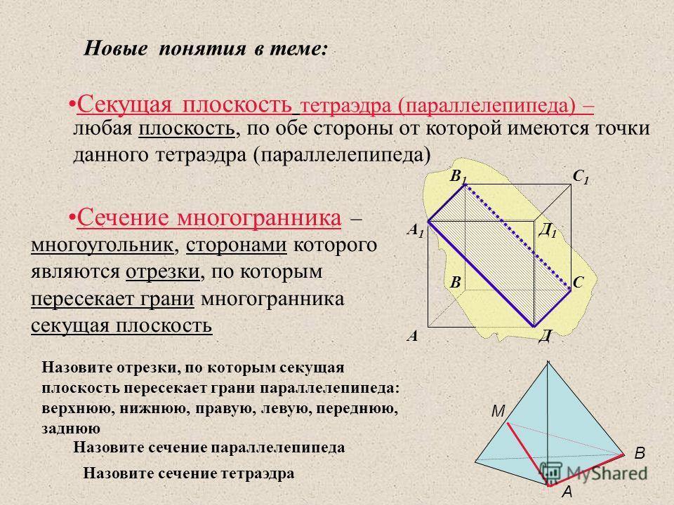 Секущая плоскость тетраэдра (параллелепипеда) – Cечение многогранника – любая плоскость, по обе стороны от которой имеются точки данного тетраэдра (параллелепипеда) многоугольник, сторонами которого являются отрезки, по которым пересекает грани много