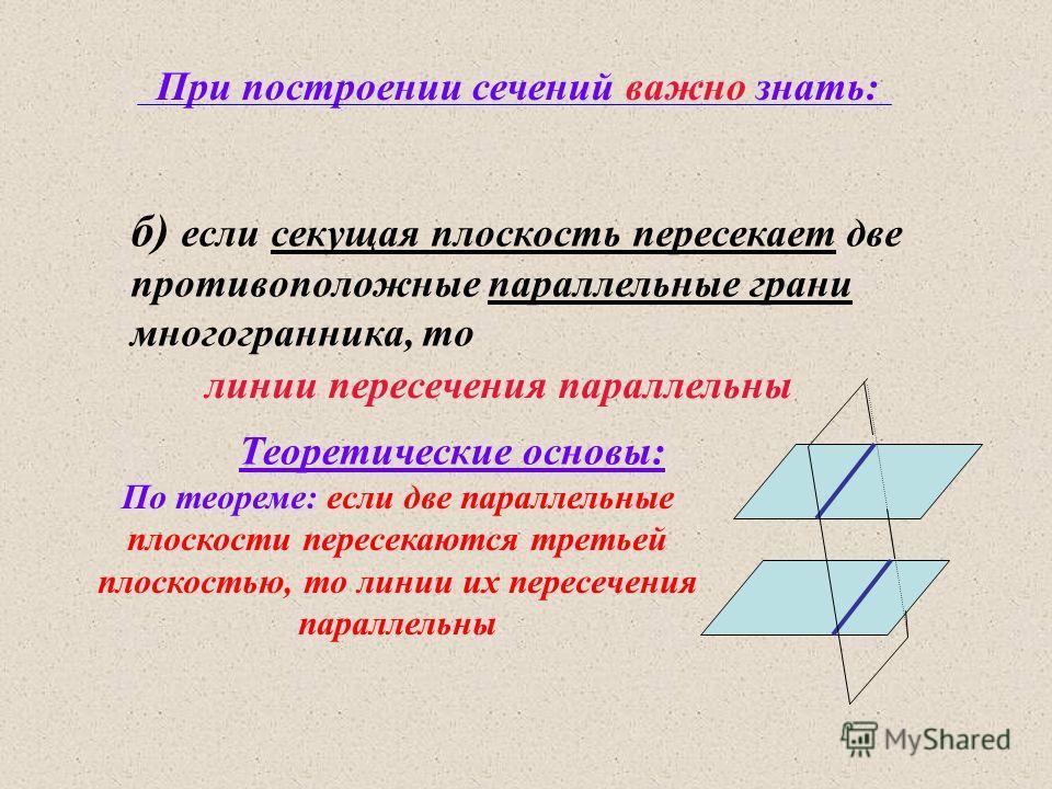 При построении сечений важно знать: б) если секущая плоскость пересекает две противоположные параллельные грани многогранника, то По теореме: если две параллельные плоскости пересекаются третьей плоскостью, то линии их пересечения параллельны Теорети