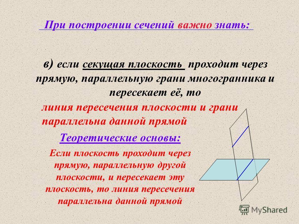 При построении сечений важно знать: в) если секущая плоскость проходит через прямую, параллельную грани многогранника и пересекает её, то Если плоскость проходит через прямую, параллельную другой плоскости, и пересекает эту плоскость, то линия пересе