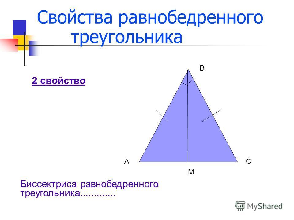 Свойства равнобедренного треугольника 2 свойство АС В М Биссектриса равнобедренного треугольника.............