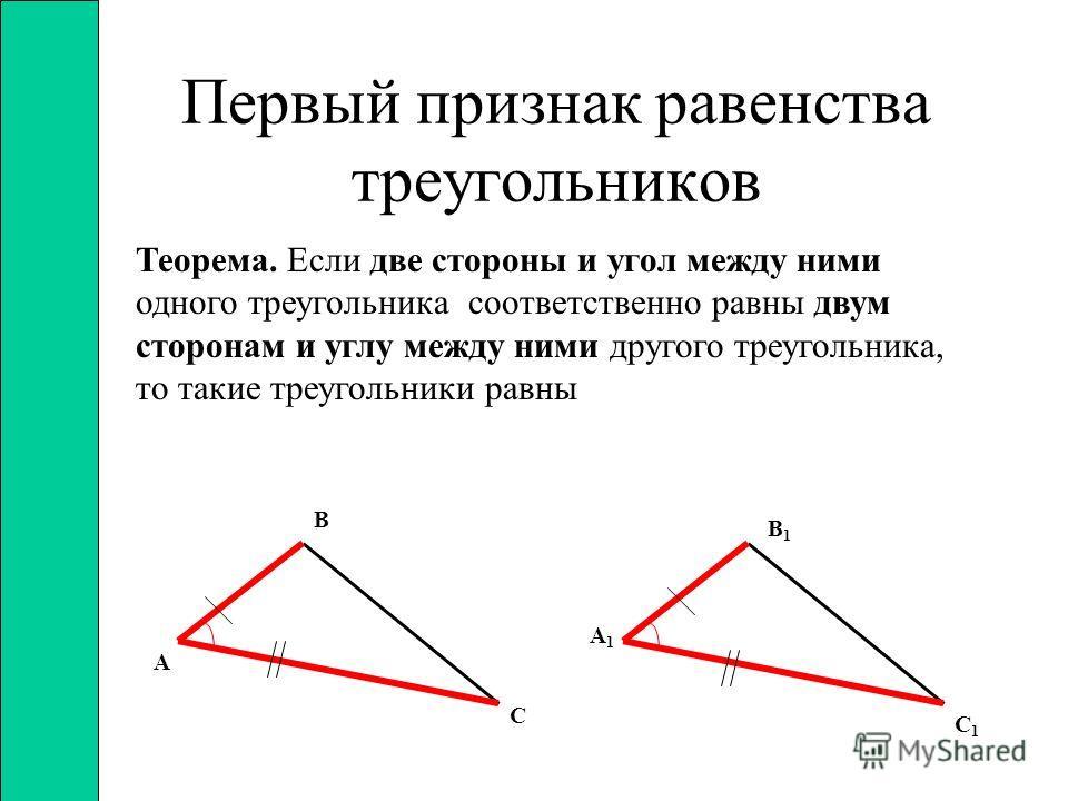 Свойства равнобедренного треугольника Теорема. В равнобедренном треугольнике углы при основании равны Теорема. В равнобедренном треугольнике биссектриса, проведённая к основанию, является медианой и высотой. С В А Н С В А
