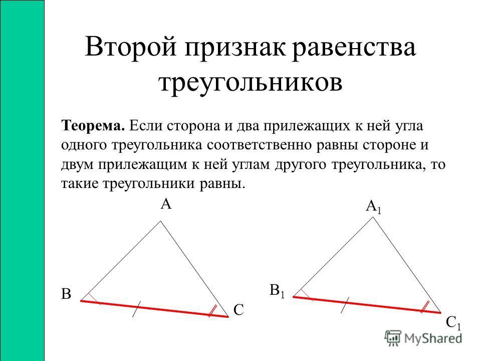 Первый признак равенства треугольников Теорема. Если две стороны и угол между ними одного треугольника соответственно равны двум сторонам и углу между ними другого треугольника, то такие треугольники равны А В С А1А1 С1С1 В1В1