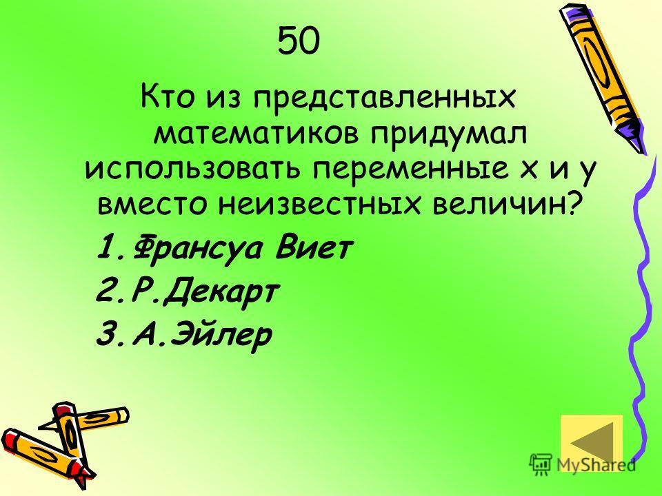 50 Кто из представленных математиков придумал использовать переменные х и у вместо неизвестных величин? 1.Франсуа Виет 2.Р.Декарт 3.А.Эйлер