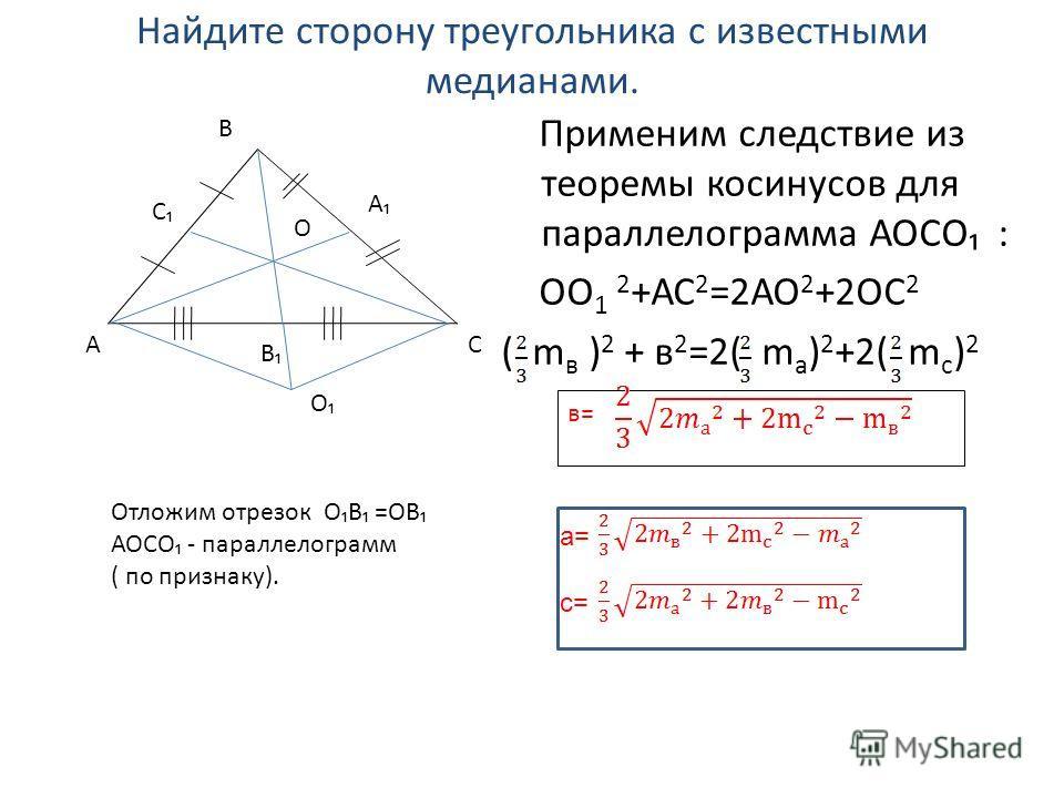 Найдите сторону треугольника с известными медианами. Применим следствие из теоремы косинусов для параллелограмма АОСО : ОО 1 2 +АС 2 =2АО 2 +2ОС 2 ( m в ) 2 + в 2 =2( m a ) 2 +2( m с ) 2 АС В С А О О В в= а= с= Отложим отрезок ОВ =ОВ АОСО - параллело