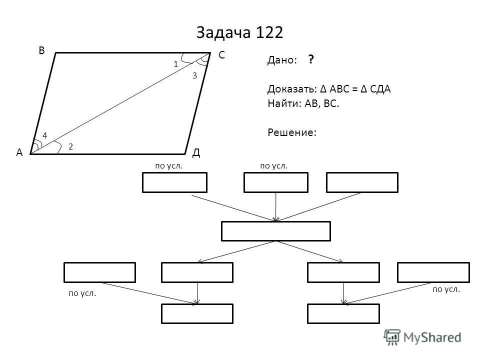 Задача 122 4 2 1 3 А В С Д Дано: ? Доказать: АВС = СДА Найти: АВ, ВС. Решение: 1 = 2 3 = 4АС=АС (общ) АВС = АДС АД = 19 АД=ВС СД = АВ СД = 11 см ВС = 19 АВ = 11 по усл.