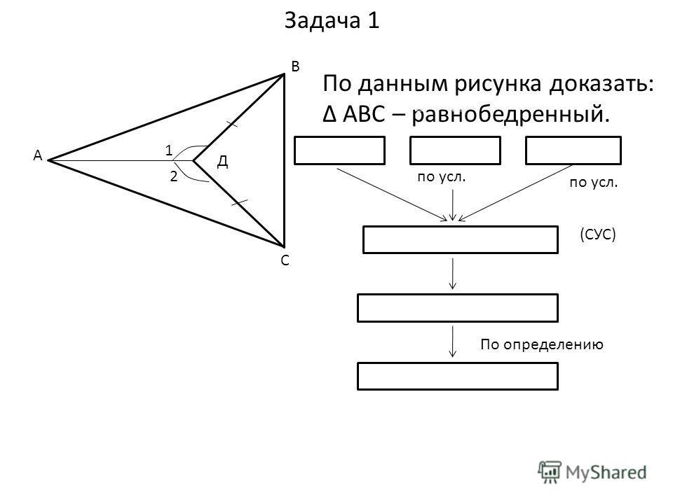 По данным рисунка доказать: АВС – равнобедренный. 1 = 2ВД=ДС АВС = АДС (СУС) АВ=АС АВС - равнобедренный По определению по усл. 1 2 А С В Д Задача 1