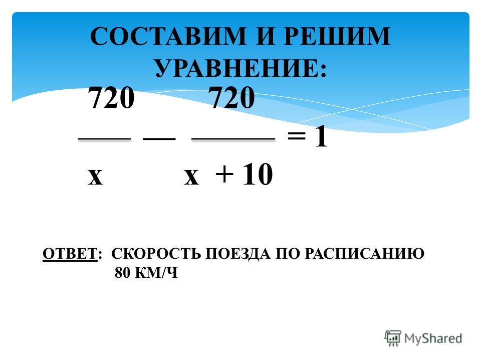 СОСТАВИМ И РЕШИМ УРАВНЕНИЕ: ОТВЕТ: СКОРОСТЬ ПОЕЗДА ПО РАСПИСАНИЮ 80 КМ/Ч 720 720 = 1 x x + 10