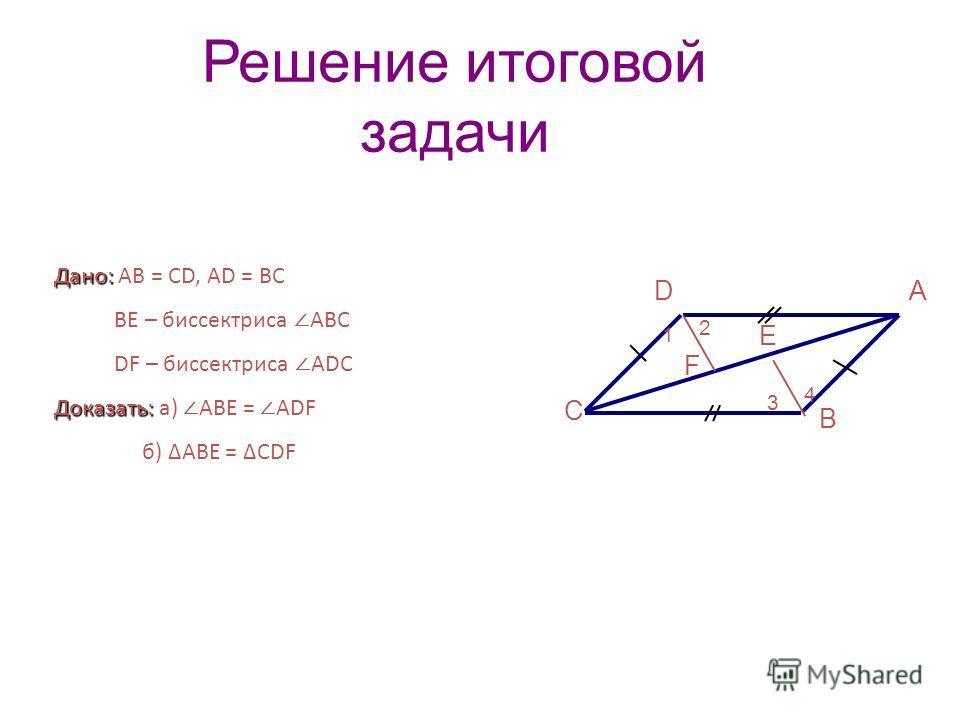 Решение итоговой задачи С А В Дано: Дано: АВ = CD, AD = BC ВЕ – биссектриса АВС DF – биссектриса АDС Доказать: Доказать: а) АВЕ = ADF б) АВЕ = CDF F Е D 4 1 2 3