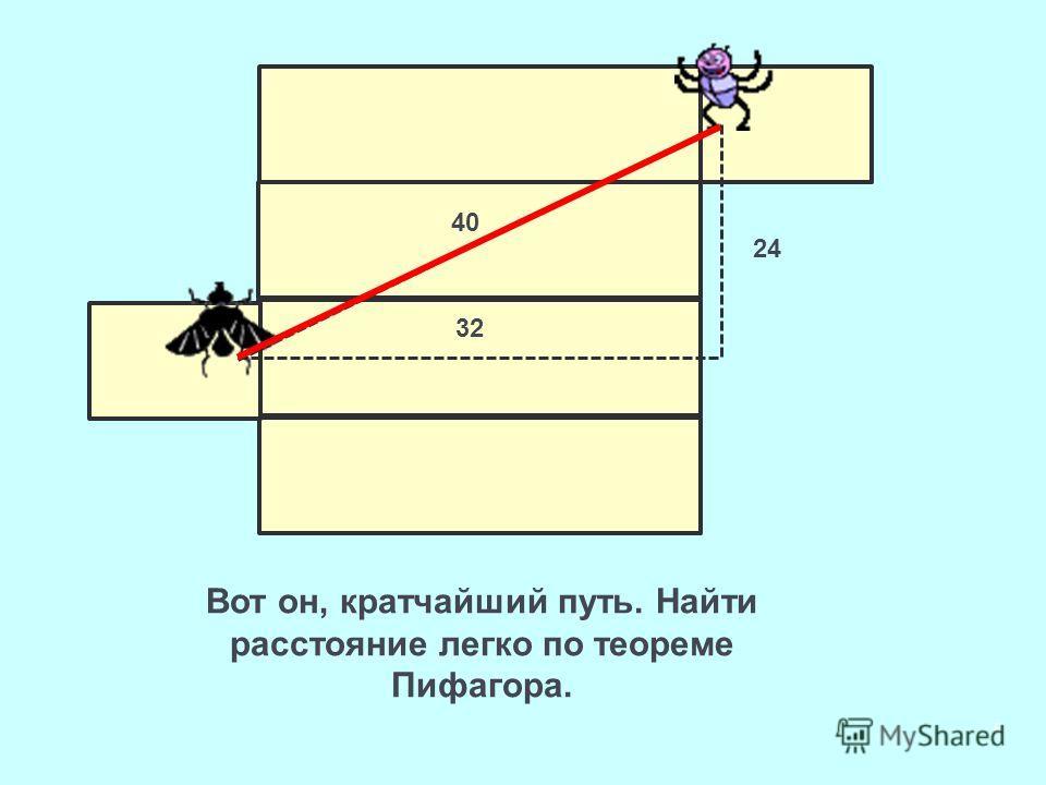 Вот он, кратчайший путь. Найти расстояние легко по теореме Пифагора. 6 40 24 32