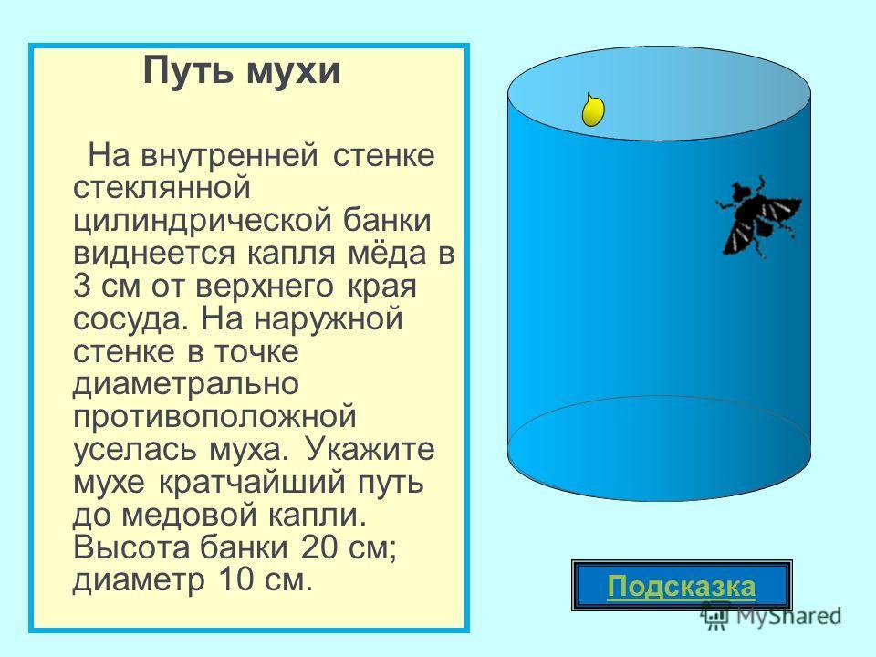 Путь мухи На внутренней стенке стеклянной цилиндрической банки виднеется капля мёда в 3 см от верхнего края сосуда. На наружной стенке в точке диаметрально противоположной уселась муха. Укажите мухе кратчайший путь до медовой капли. Высота банки 20 с
