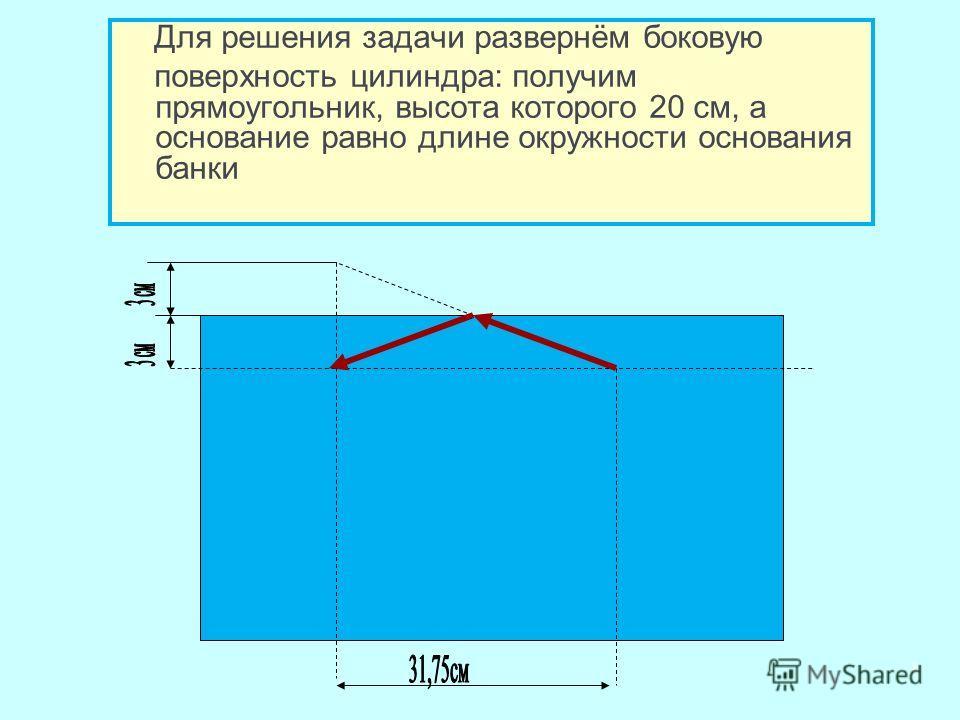 Для решения задачи развернём боковую поверхность цилиндра: получим прямоугольник, высота которого 20 см, а основание равно длине окружности основания банки 8