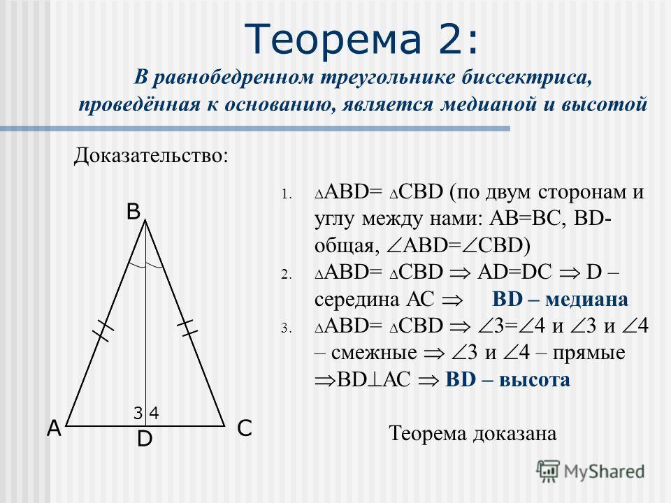 Теорема 2: В равнобедренном треугольнике биссектриса, проведённая к основанию, является медианой и высотой Доказательство: 1. АВD= СВD (по двум сторонам и углу между нами: АВ=ВС, ВD- общая, АВD= СВD) 2. АВD= СВD АD=DC D – середина АС ВD – медиана 3.