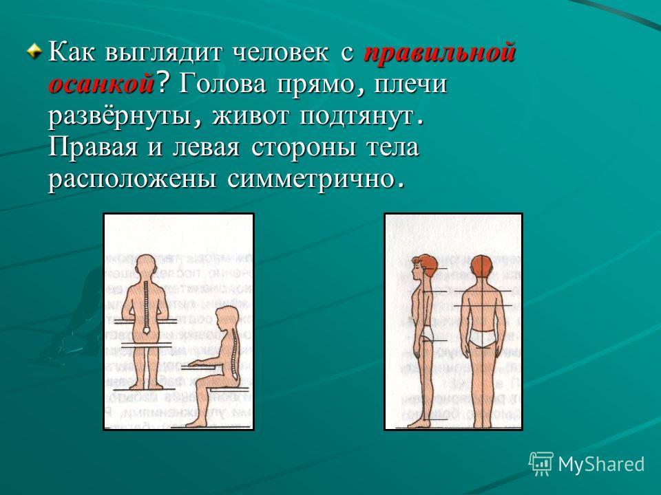 Как выглядит человек с правильной осанкой ? Голова прямо, плечи развёрнуты, живот подтянут. Правая и левая стороны тела расположены симметрично.