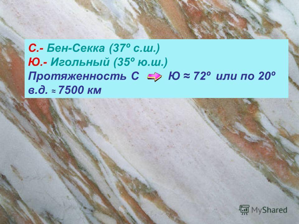 С.- Бен-Секка (37º с.ш.) Ю.- Игольный (35º ю.ш.) Протяженность С Ю 72º или по 20º в.д. 7500 км
