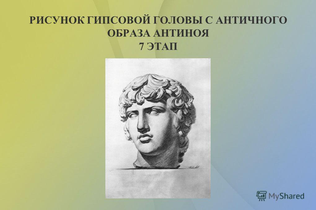 РИСУНОК ГИПСОВОЙ ГОЛОВЫ С АНТИЧНОГО ОБРАЗА АНТИНОЯ 6 ЭТАП