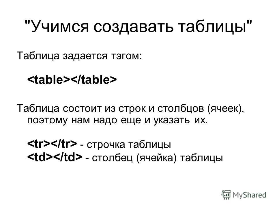 Учимся создавать таблицы Таблица задается тэгом: Таблица состоит из строк и столбцов (ячеек), поэтому нам надо еще и указать их. - строчка таблицы - столбец (ячейка) таблицы
