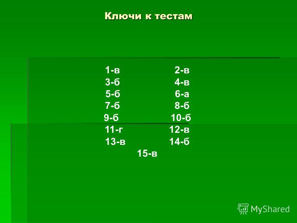 Ключи к тестам Ключи к тестам 1-в 2-в 3-б 4-в 5-б 6-а 7-б 8-б 9-б 10-б 11-г 12-в 13-в 14-б 15-в