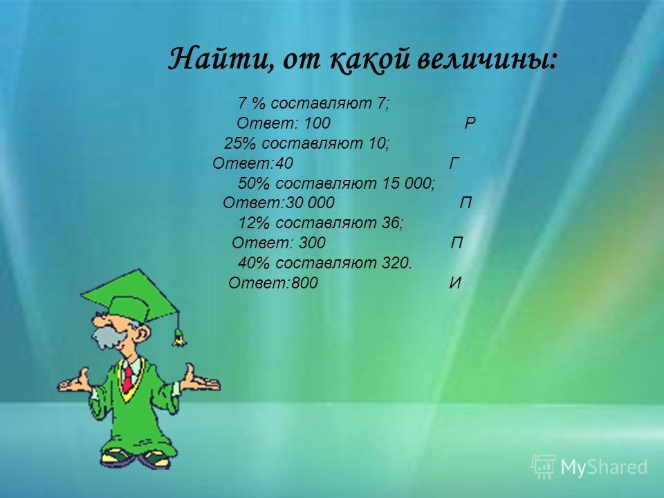7 % составляют 7; Ответ: 100 Р 25% составляют 10; Ответ:40 Г 50% составляют 15 000; Ответ:30 000 П 12% составляют 36; Ответ: 300 П 40% составляют 320. Ответ:800 И Найти, от какой величины: