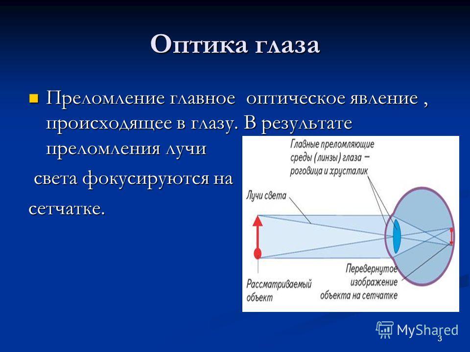 Оптика глаза Преломление главное оптическое явление, происходящее в глазу. В результате преломления лучи Преломление главное оптическое явление, происходящее в глазу. В результате преломления лучи света фокусируются на света фокусируются насетчатке.