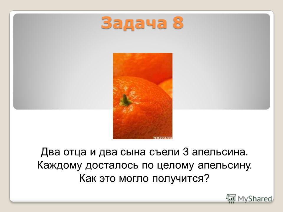 Задача 8 Два отца и два сына съели 3 апельсина. Каждому досталось по целому апельсину. Как это могло получится?