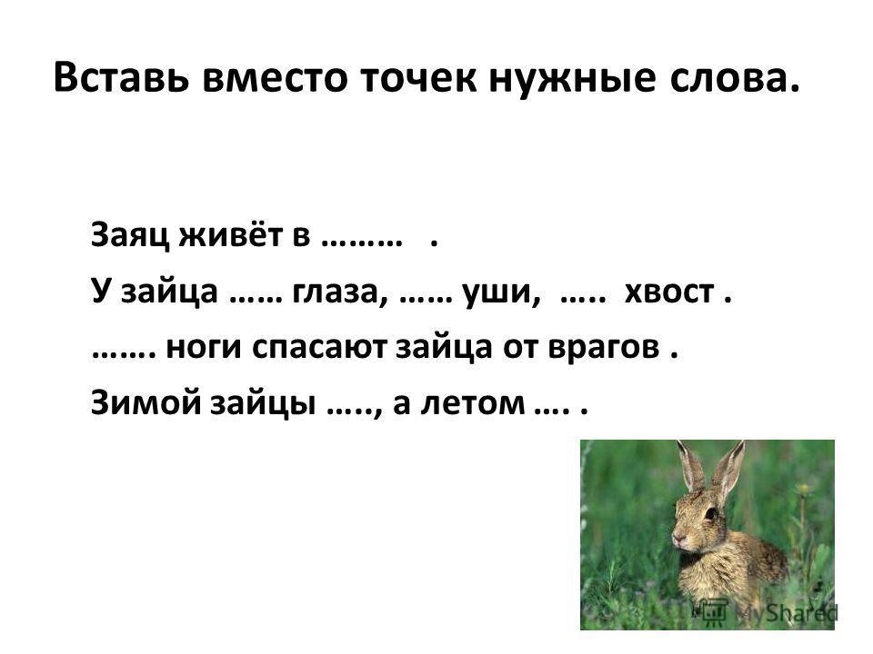 Вставь вместо точек нужные слова. Заяц живёт в ………. У зайца …… глаза, …… уши, ….. хвост. ……. ноги спасают зайца от врагов. Зимой зайцы ….., а летом …..