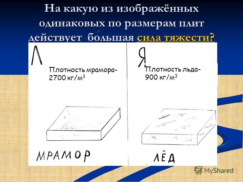 На какую из изображённых одинаковых по размерам плит действует большая сила тяжести? сила тяжести?сила тяжести? Плотность мрамора- 2700 кг/м 3 Плотность льда- 900 кг/м 3
