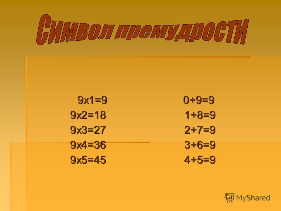 9х1=9 9х1=99х2=189х3=279х4=369х5=45 0+9=9 0+9=91+8=92+7=93+6=94+5=9