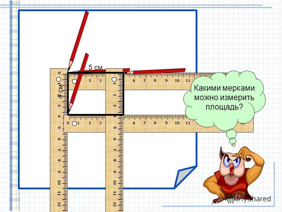 Я, Сова – Мудрая голова, предлагаю вам расследовать: Какая мерка - самая удобная для измерения площади прямоугольников 40 1.Начерти прямоугольник со сторонами 5см и 4 см.