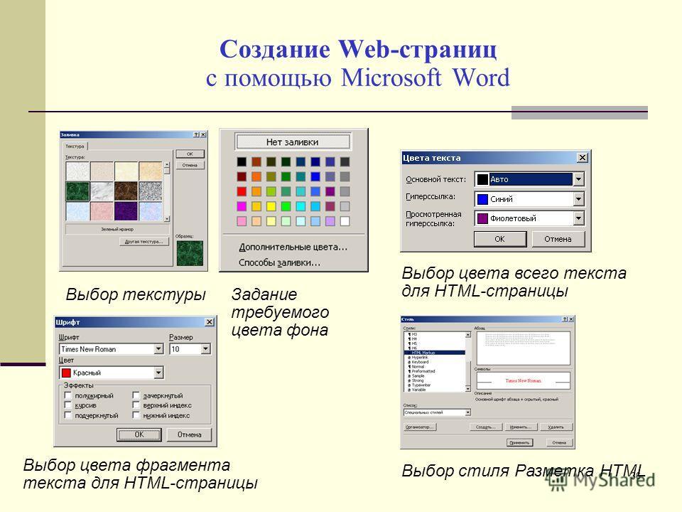 Создание Web-страниц с помощью Microsoft Word Задание требуемого цвета фона Выбор текстуры Выбор цвета всего текста для HTML-страницы Выбор цвета фрагмента текста для HTML-страницы Выбор стиля Разметка HTML 36