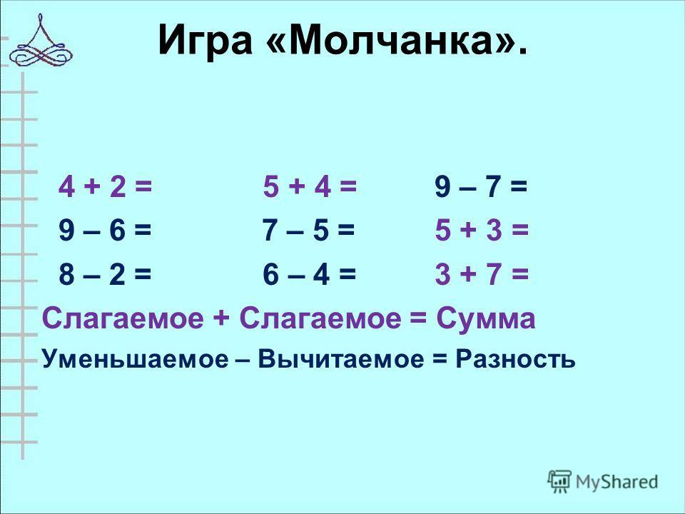Игра «Молчанка». 4 + 2 = 5 + 4 = 9 – 7 = 9 – 6 = 7 – 5 = 5 + 3 = 8 – 2 = 6 – 4 = 3 + 7 = Слагаемое + Слагаемое = Сумма Уменьшаемое – Вычитаемое = Разность