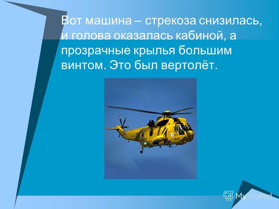 Вот машина – стрекоза снизилась, и голова оказалась кабиной, а прозрачные крылья большим винтом. Это был вертолёт.