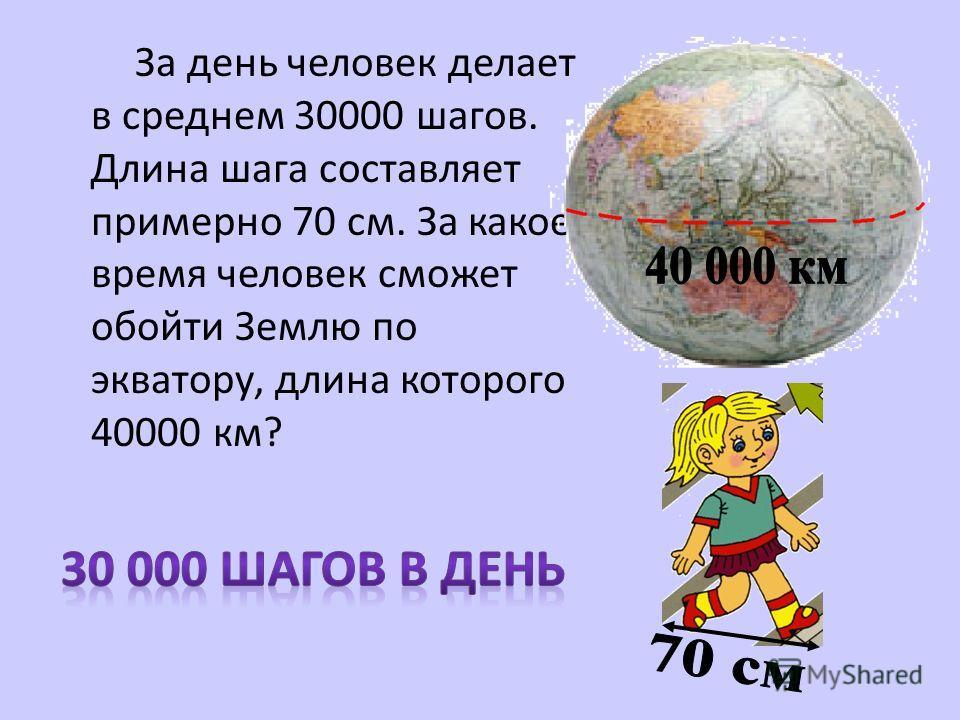 За день человек делает в среднем 30000 шагов. Длина шага составляет примерно 70 см. За какое время человек сможет обойти Землю по экватору, длина которого 40000 км?