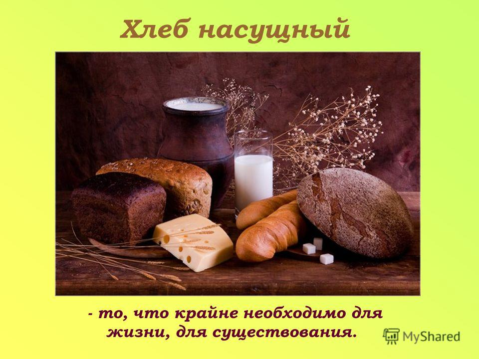 - то, что крайне необходимо для жизни, для существования. Хлеб насущный