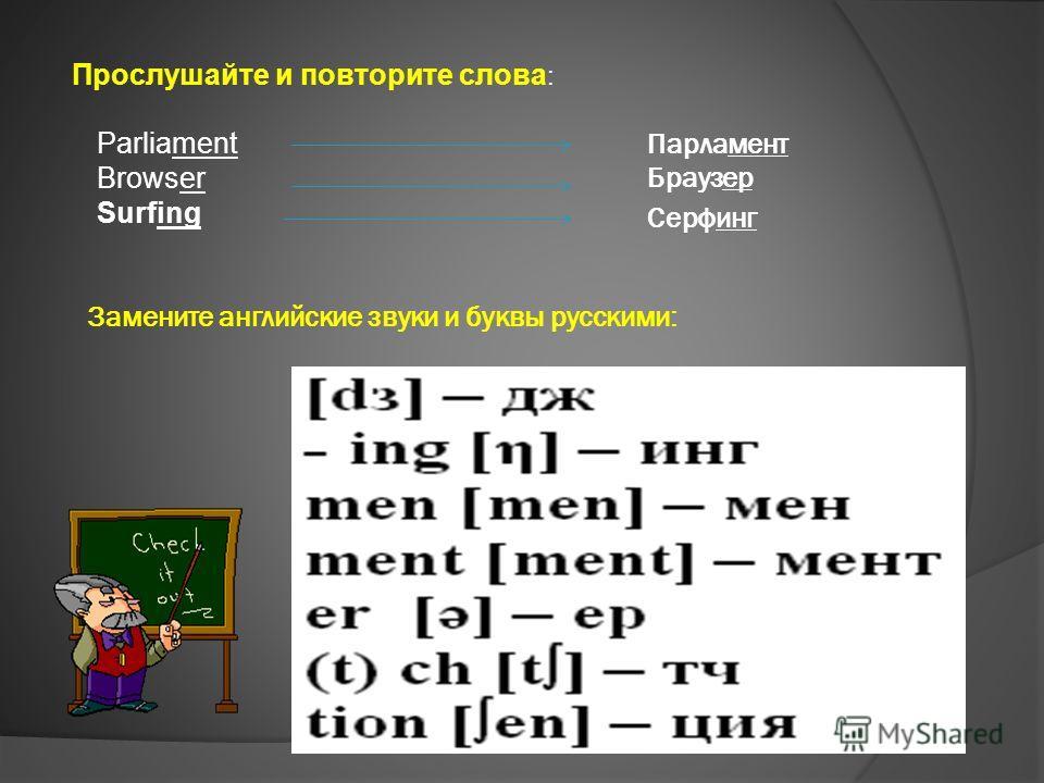 Прослушайте и повторите слова : Parliament Browser Surfing Замените английские звуки и буквы русскими: Парламент Браузер Серфинг