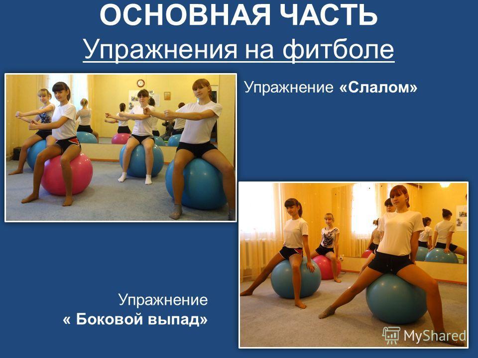 ОСНОВНАЯ ЧАСТЬ Упражнения на фитболе Упражнение «Слалом» Упражнение « Боковой выпад»