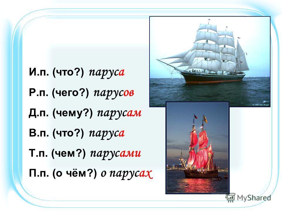 И.п. (что?) паруса Р.п. (чего?) парусов Д.п. (чему?) парусам В.п. (что?) паруса Т.п. (чем?) парусами П.п. (о чём?) о парусах