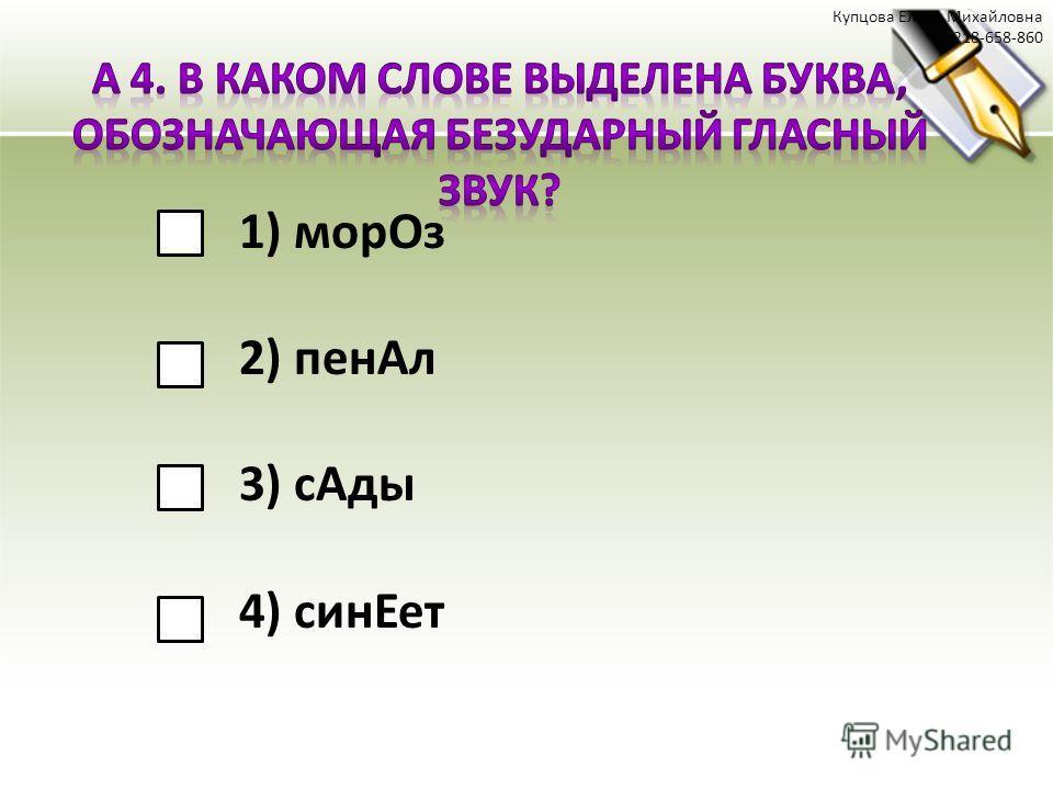 1) морОз 2) пенАл 3) сАды 4) синЕет Купцова Елена Михайловна 218-658-860
