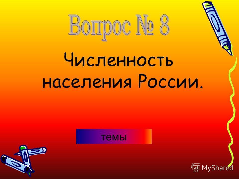 Численность населения России. темы