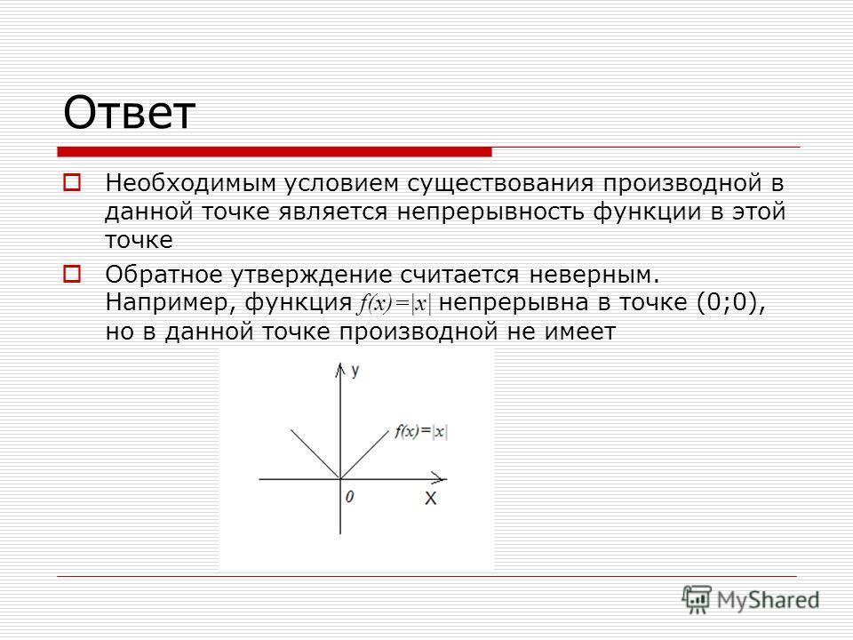 Ответ Необходимым условием существования производной в данной точке является непрерывность функции в этой точке Обратное утверждение считается неверным. Например, функция f(x)=|x| непрерывна в точке (0;0), но в данной точке производной не имеет