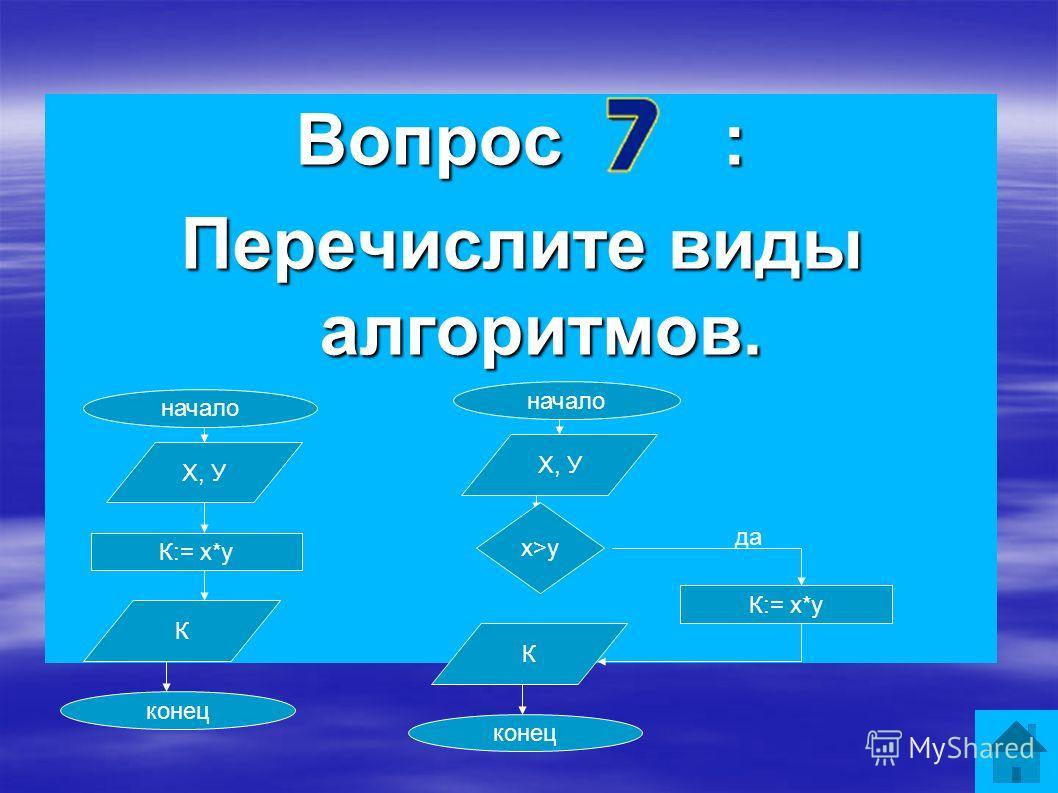 Вопрос : Перечислите виды алгоритмов. начало конец Х, У К:= х*у К х>y да начало конец Х, У К:= х*у К