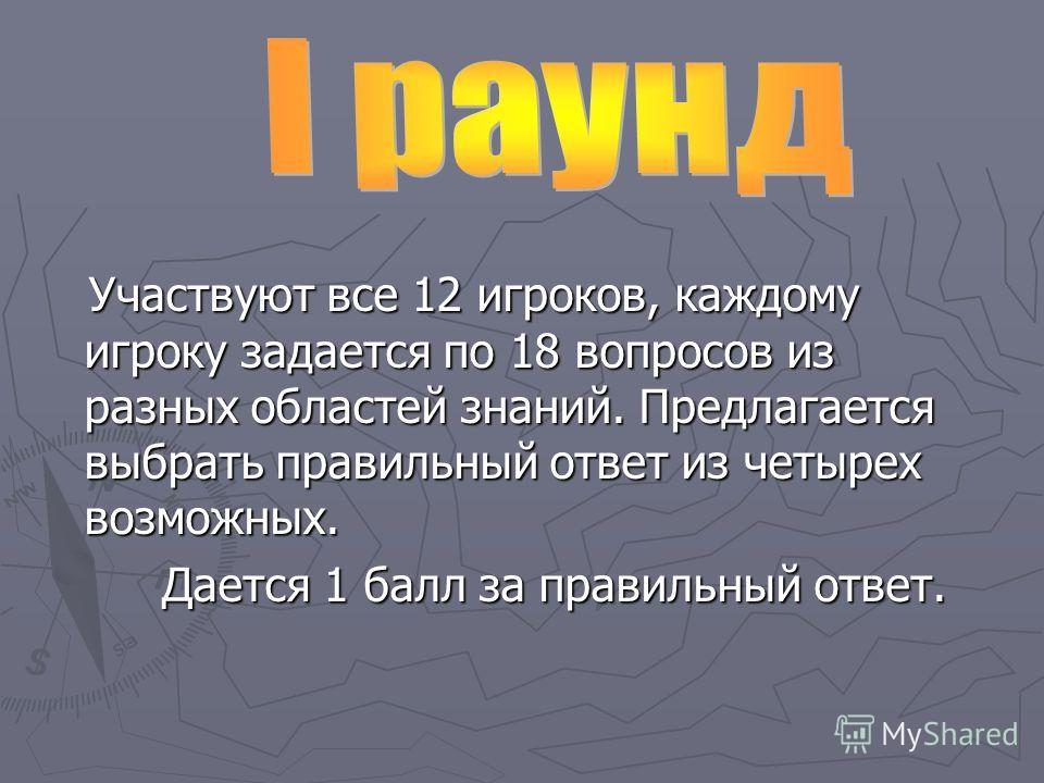 Участвуют все 12 игроков, каждому игроку задается по 18 вопросов из разных областей знаний. Предлагается выбрать правильный ответ из четырех возможных. Участвуют все 12 игроков, каждому игроку задается по 18 вопросов из разных областей знаний. Предла