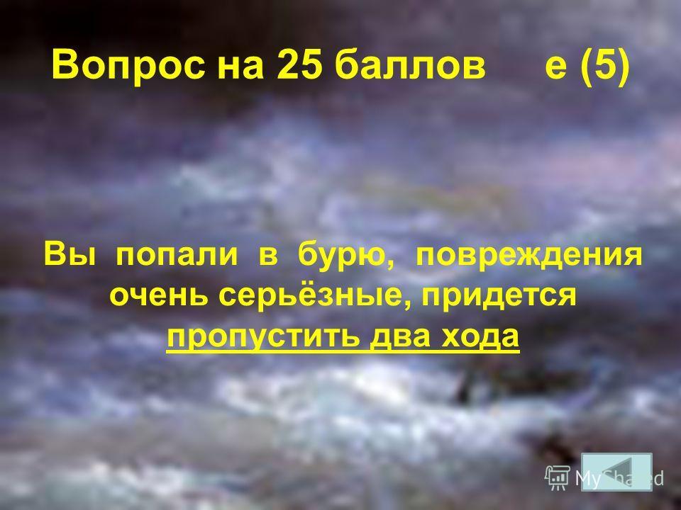 Вопрос на 25 баллов e (5) Вы попали в бурю, повреждения очень серьёзные, придется пропустить два хода