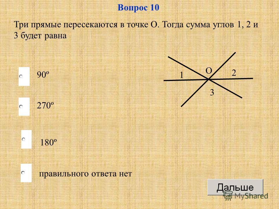 180º 270º правильного ответа нет 90º Вопрос 10 Три прямые пересекаются в точке О. Тогда сумма углов 1, 2 и 3 будет равна О 1 2 3