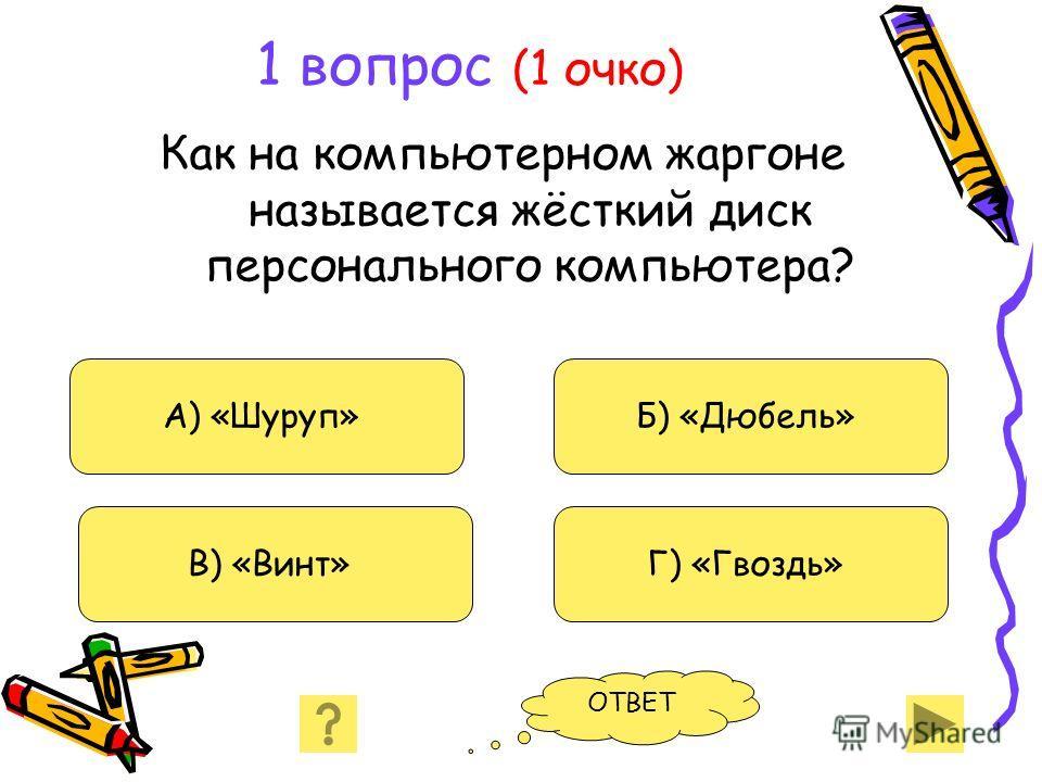 1 вопрос (1 очко) Как на компьютерном жаргоне называется жёсткий диск персонального компьютера? А) «Шуруп» В) «Винт» Б) «Дюбель» Г) «Гвоздь» ОТВЕТ
