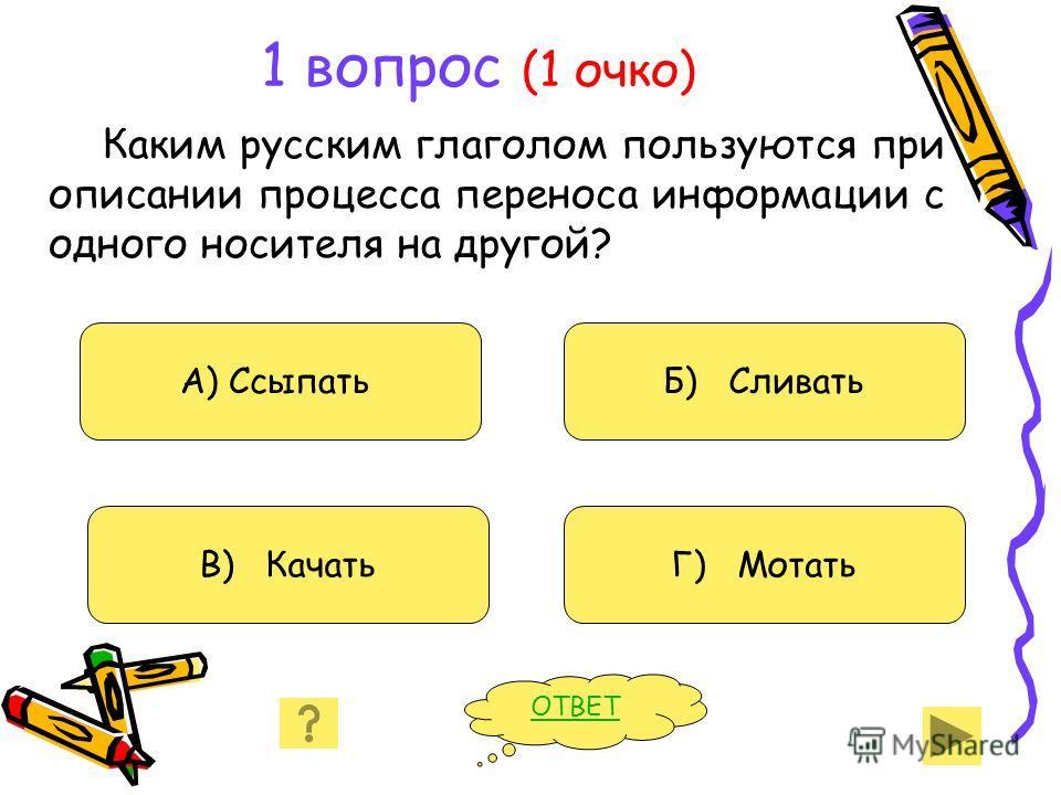1 вопрос (1 очко) Каким русским глаголом пользуются при описании процесса переноса информации с одного носителя на другой? А) Ссыпать В) Качать Б) Сливать Г) Мотать ОТВЕТ