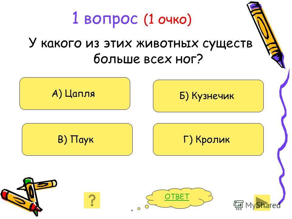 1 вопрос (1 очко) У какого из этих животных существ больше всех ног? А) Цапля В) Паук Б) Кузнечик Г) Кролик ОТВЕТ