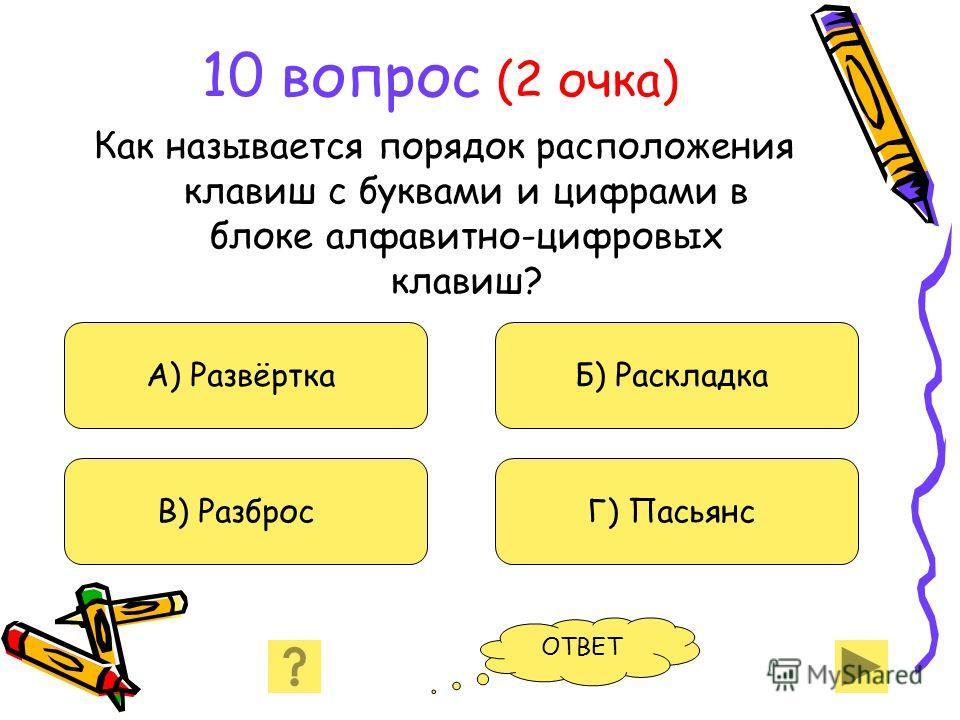 10 вопрос (2 очка) Как называется порядок расположения клавиш с буквами и цифрами в блоке алфавитно-цифровых клавиш? А) Развёртка В) Разброс Б) Раскладка Г) Пасьянс ОТВЕТ