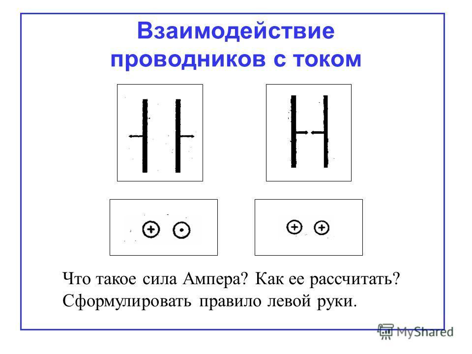 Взаимодействие проводников с током Что такое сила Ампера? Как ее рассчитать? Сформулировать правило левой руки.