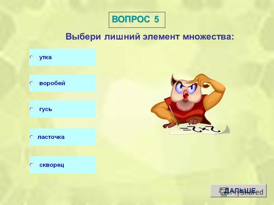 ВОПРОС 4 Выбери лишний элемент множества: